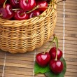 Delicious sweet cherry fruits in wicker basket — Stock Photo #11379742