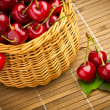 Delicious sweet cherry fruits in wicker basket — Stock Photo #11379805