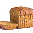 Delicious wholemeal baked bread isolated on white background — Stock Photo