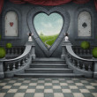 Fantastic background and door of heart. - Stock Photo