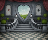 梦幻般的背景和的心门. — 图库照片