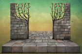 Background or illustration with apple trees. — Stok fotoğraf
