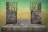 Hintergrund oder abbildung mit apfelbäumen. — Stockfoto