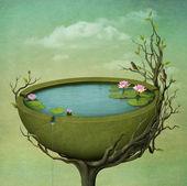 Beau lac avec des fleurs. — Photo