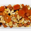 Fruits and nuts plate — Stock Photo