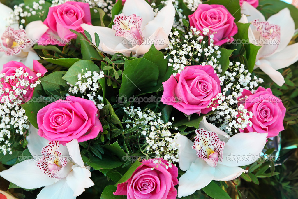 Pink roses and white orchid flowers bouquet  Stock Photo #11487924