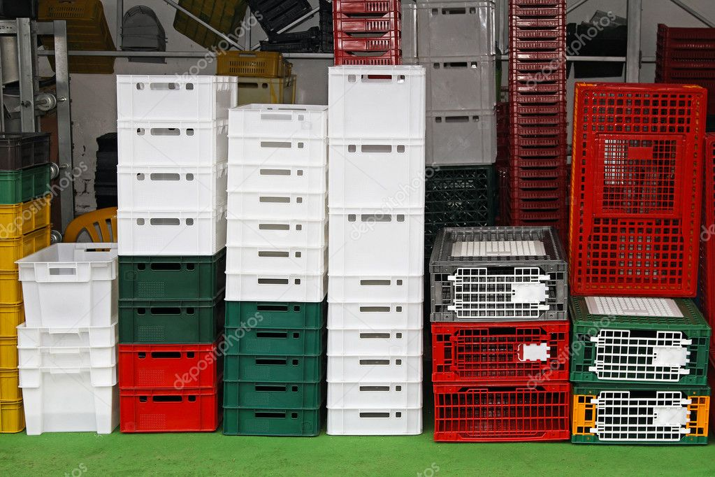 Plastic crates and cages for transportation at farm — Stock Photo #11732755