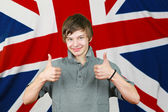 Thumbs up Brit — Stock Photo