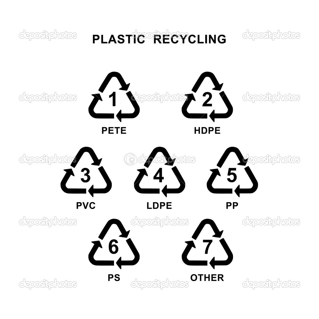 Recycling symbol for different types of plastic material  Stock Photo #12087463