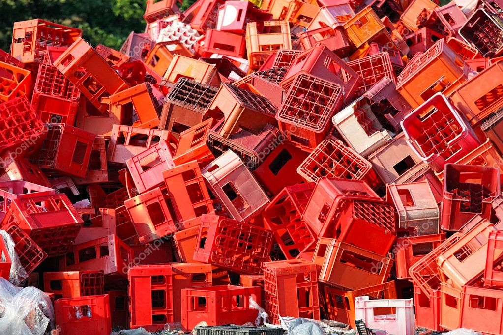 Big bunch of red crates for recycling — Stock Photo #12087563