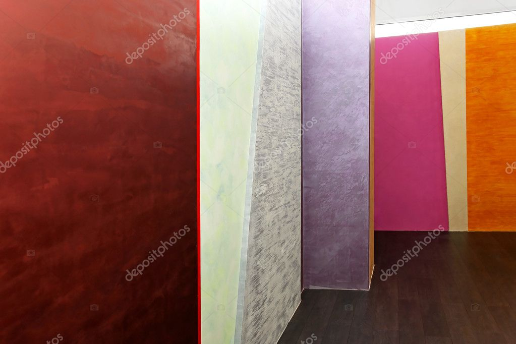 Modern interior with colourful and decorative walls    #12275478