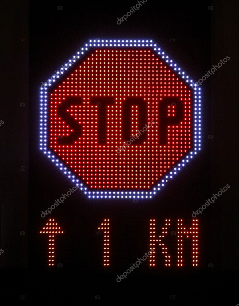 LED lights stop sign with message lights — Stock Photo #12306600