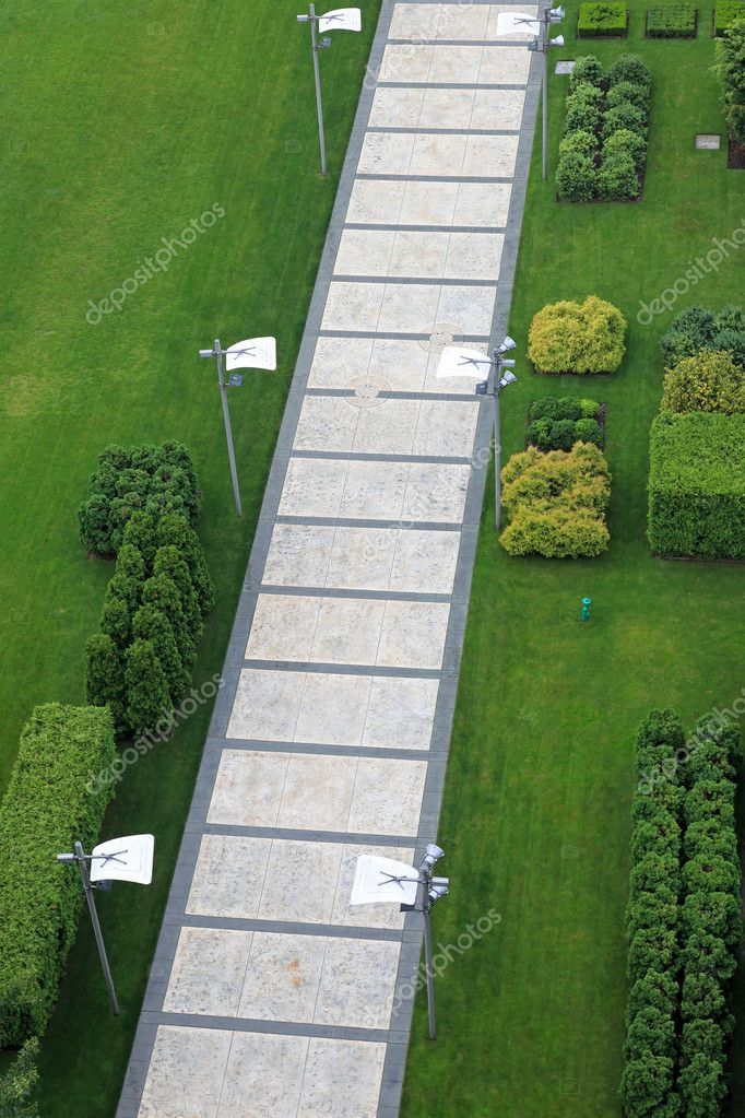 Aerial shot of pedestrian pathway trough park  Stock Photo #12348258