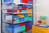 Color shelf bins — Stock Photo