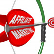 Affiliate Marketing Bow and Arrow Aimed at Target — Stock Photo