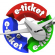 E-Ticket Airplane Travel Book Flight for Vacation or Business - Stock Photo