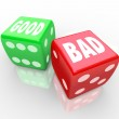 Good Vs Bad Dice Lucky Roll to Decide Answer — Stock Photo