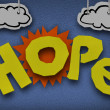 hope cardboard diorama word sun paper cutout — Stock Photo
