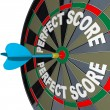 Stock Photo: Perfect Score Words Dart on Dartboard Winner