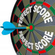 Perfect Score Words Dart on Dartboard Winner - Stock Photo
