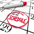 Schedule Word Circled on Calendar Appointment Reminder - Stock Photo