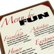 Menu for Fun List of Activities and Entertainment Options - Stok fotoğraf
