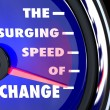 Stock Photo: Surging Speed of Change Speedometer Tracks Evolution