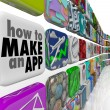 Stock Photo: how to make an app software tile wall of apps icons
