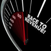 Race to Revenue Rising Speedometer Needle Profits — Stock Photo