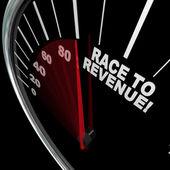 Race naar inkomsten stijgen snelheidsmeter naald winsten — Stockfoto