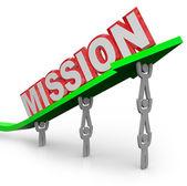 Team Lifting Mission Word on Arrow Job Accomplished — Stock Photo