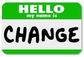 Bonjour insigne d'identité, mon nom est changer autocollant d'étiquette — Photo