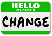 Hola exteriormente mi nombre es cambiar etiqueta autoadhesiva — Foto de Stock