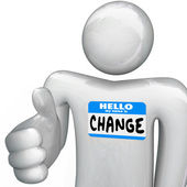 Nametag Hello My Name is Change Person Handshake — Stock Photo