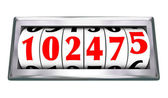 Odometer Wheels Numbers Age Mileage of Vehicle — Stock Photo