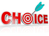 Choice Arrow in Target Bulls-Eye Word Best Option — Stock Photo