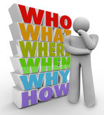 Thinker Person Asks Questions Who What Where When Why How — 图库照片
