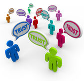 Trust Speech Bubbles Loyalty Confidence — Stock Photo