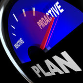 Plan Gauge Proactive vs Reactive Strategy for Success — Stock Photo