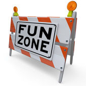 Fun Zone Barricade Construction Sign Kids Playground — Stock Photo