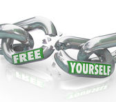 Free Yourself Chains Breaking Free Links Unbound — Stock Photo
