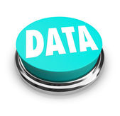 Data Word on Blue Round Button Information Measurement — Stock Photo