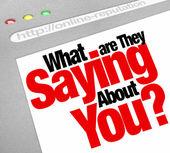 Co říkají o vás online pověst webové stránky — Stock fotografie
