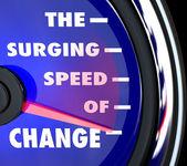 The Surging Speed of Change Speedometer Tracks Evolution — Stock Photo