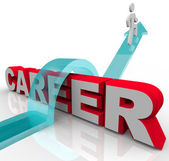 Person Better Job Career Word Rising Promotion Opportunity — Stock Photo