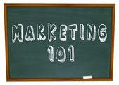 Marketing 101 Words on Chalkboard Basics — Stock Photo