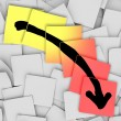 Arrow Down Tracking Failure Loss Sticky Notes - Foto de Stock