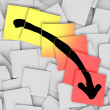 Arrow Down Tracking Failure Loss Sticky Notes - 图库照片