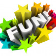 Fun Word Stars Starburst Entertainment Amusement — Stock Photo