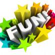 Fun Word Stars Starburst Entertainment Amusement — Stock Photo
